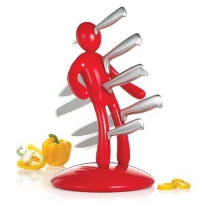 The Ex 2nd Edition Five Piece Knife Set with Holder in Red (Set of 5) ...