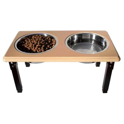 Ethical Pet Posture Pro Adjustable Double Pet Diner in Oak