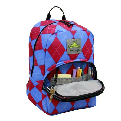 Peace Frogs Day Trippin Backpack in Berry Argyle Print