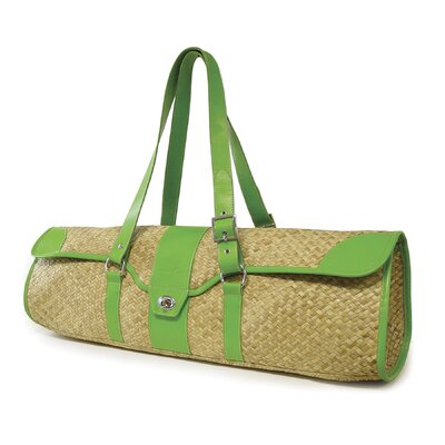 Crescent Moon St.Tropez Yoga Bag in Natural with Green Leather Trim