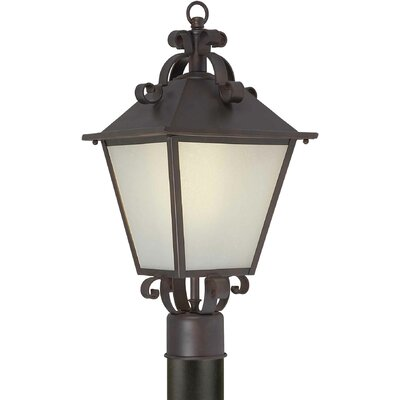 Forte Lighting One Light Outdoor Post Lantern with Frosted Glass in Antique Bronze
