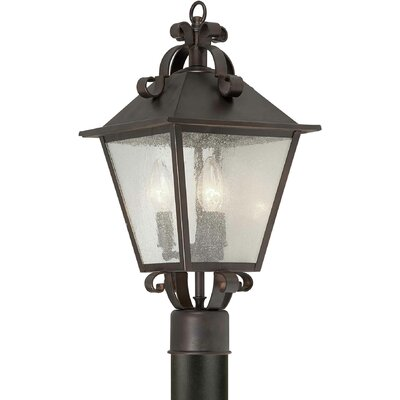 Forte Lighting Three Light Outdoor Post Lantern in Antique Bronze