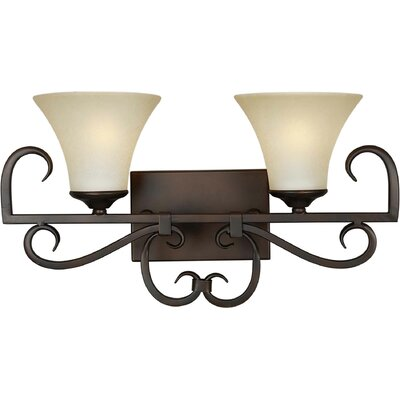 Forte Lighting Two Light Vanity Light with Umber Mist Glass Shade in Antique Bronze