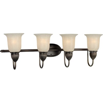 Forte Lighting Four Light Vanity Light with Mica Shade in Antique Bronze