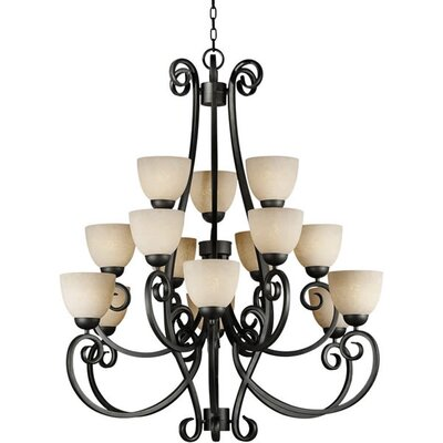 Forte Lighting 15 Light Chandelier with Tapioca Shades
