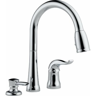 Kate Pull Down Single Handle Widespread Kitchen Faucet with Soap Dispenser
