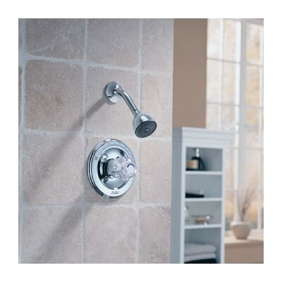 Delta Classic Pressure Balanced Knob Handle Shower Head and Trim in Chrome
