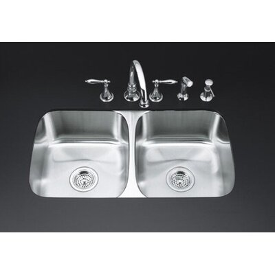 "Kohler Undertone 8"" Two Bowl Undermount Kitchen Sink"
