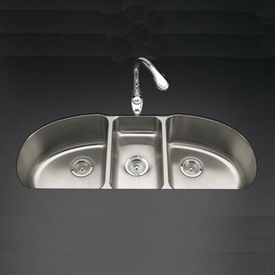 "Kohler Undertone 44-11/16"" X 18-1/2"" X 9-1/2"" Under-Mount Triple-Bowl Kitchen Sink"