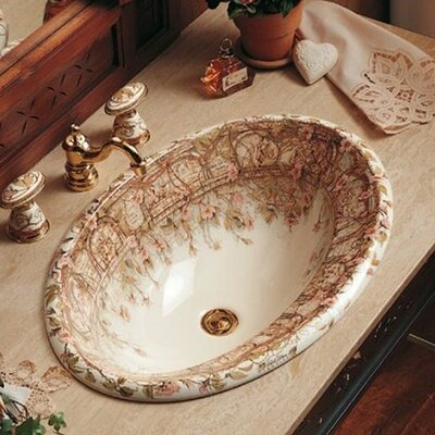 Kohler Tale of Briar Rose Design on Centerpiece Self Rimming Bathroom Sink