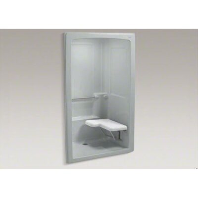 Kohler Freewill Barrier-Free Shower Stall with Brushed Stainless Steel Grab Bars and Seat at Left