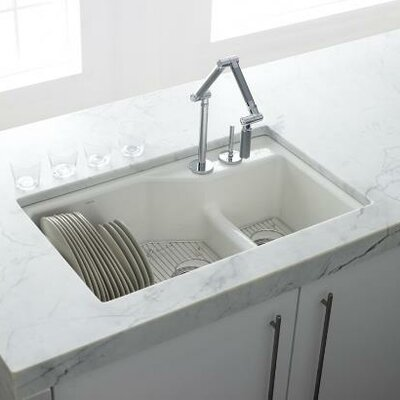 Kohler Indio Undermount 2-Hole Offset Double Bowl Kitchen Sink