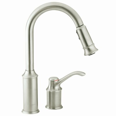 Moen Aberdeen High Arc One Handle Widespread Kitchen Faucet with Pull Down Spray