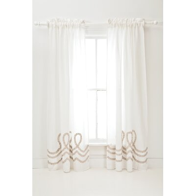 Pine Cone Hill Ruched Linen Window Panel in White / Platinum