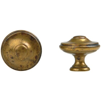 "Bosetti-Marella 1800 Circa 1.38"" x 1.38"" Round Knob in Distressed Antique Brass"