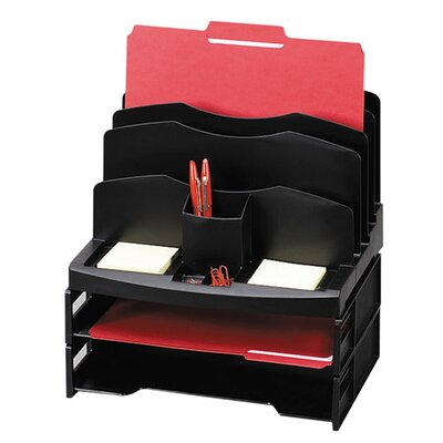 "Sparco Products Organizer w/2 Letter Trays, 9 Compartments, 13""x10""x8-5/8, BK"