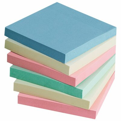 "Sparco Products Adhesive Notes, 3""x3"", 12-Pack, 100 Sheets/Pad, Assorted Pastel"