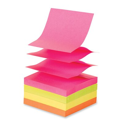Sparco Products Adhesive Notes, Pop-up, Removable, 3&quot;x3&quot;, 12/PK, Extreme Colors