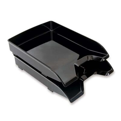 "Sparco Products Letter Trays, Front-Loading, 9-7/8""x13-1/5""x1-3/4, Black"