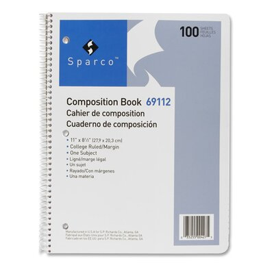 "Sparco Products Composition Book, 100 Sheets, College Ruled, 11""x8-1/2"", White"