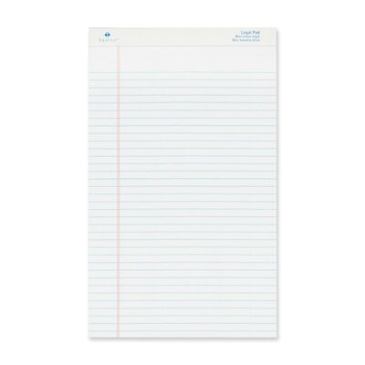 "Sparco Products Legal Ruled Pad, Micro-Perforated, Legal, 8-1/2""x14"", White, 50 Sheets, 12-Pack"