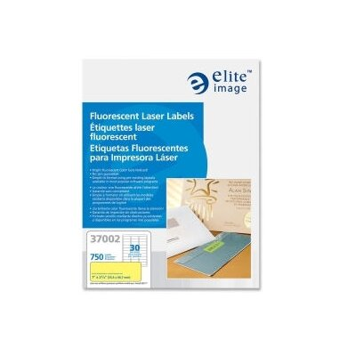 Elite Image Printer Labels, Permanent Adhesive, 1&quot;x2-5/8&quot;, 750 per Pack, Neon Yellow