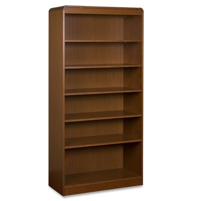 Lorell Radius Hardwood Veneer Bookcase, 5 Shelves, Cherry