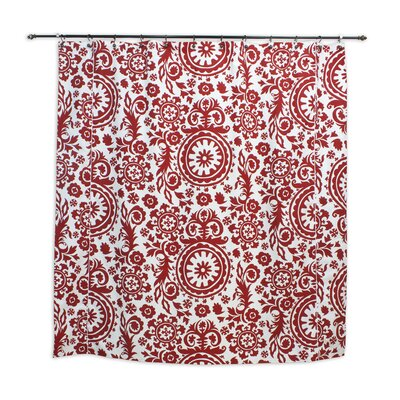Chooty & Co Suzani Lipstick Standard Cut Corded Cotton Shower Curtain