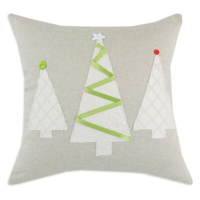 Chooty & Co Linen Natural 3 Brushed Trees Pillow