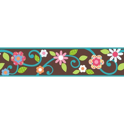 Room Mates Studio Designs Scroll Floral Wall Border in Brown / Teal