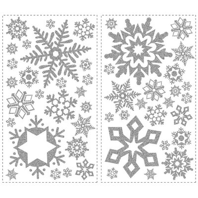Room Mates Seasonal Glitter Snowflakes Peel and Stick Wall Decal