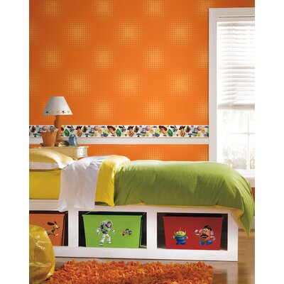 Room Mates Toy Story Optical Dots Wallpaper in Orange