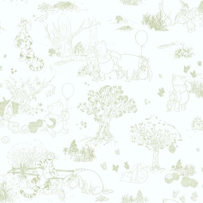 Room Mates Winnie The Pooh - Toile Wallpaper in White / Green