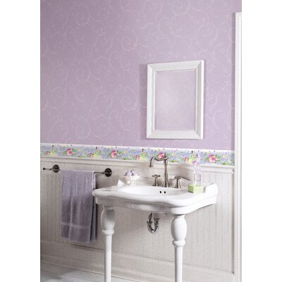 Room Mates Perfect Princess Scroll Wallpaper in Purple with Glitter