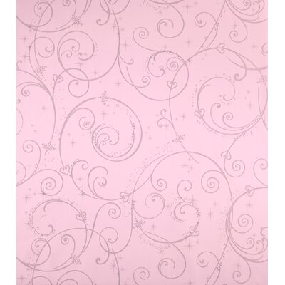 Room Mates Perfect Princess Scroll Wallpaper in Pink with Glitter