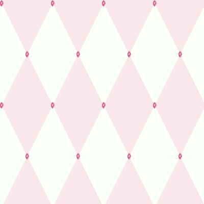Room Mates Harlequin Wallpaper in Pink / White with Pink Gems