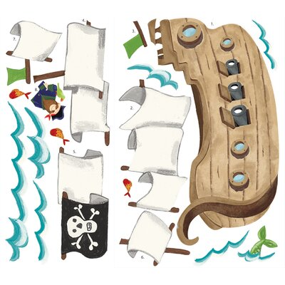 Room Mates Pirate Ship Peel and Stick Giant Wall Decals