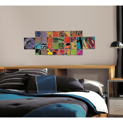 Room Mates Art of Board Circle Inside Square Peel and Stick Giant Wall Decals