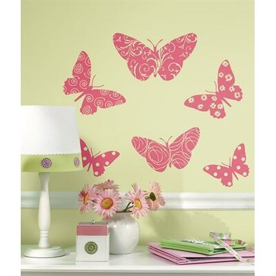 Room Mates Flocked Pink Butterfly Peel and Stick Wall Decal