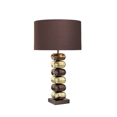 George Kovacs by Minka Lamps Table Lamp with Brown Fabric Shade in Chocolate Chrome