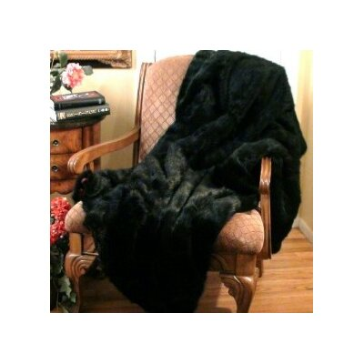 Posh Pelts Black Bear Faux Fur Throw Blanket with Burgundy Velvet-Velour Lining