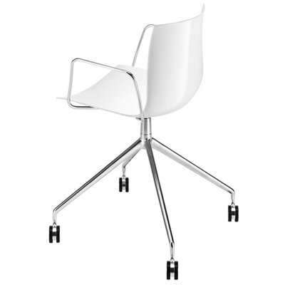 Arper Catifa 46 Polypropylene Armchair with 4-Way Swivel Trestle Base on Castors