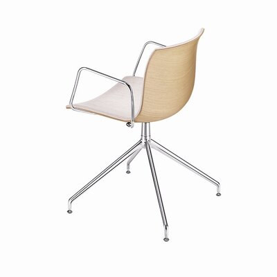 Arper Catifa 53 Polypropylene Two-Tone Armchair with 4-Way Swivel Trestle Base on Glides