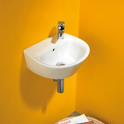 Bissonnet Jazz 40 Porcelain Bathroom Sink with Overflow in White