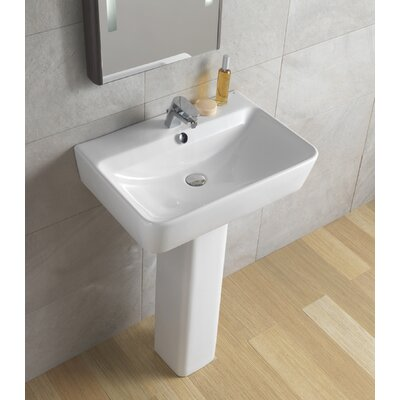 "Bissonnet Emma 21.7"" Full Pedestal Overflow Bathroom Sink With Optional Towel Bar"