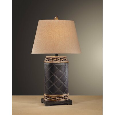 Minka Ambience Table Lamp in Dark Brown Leather with Rattan