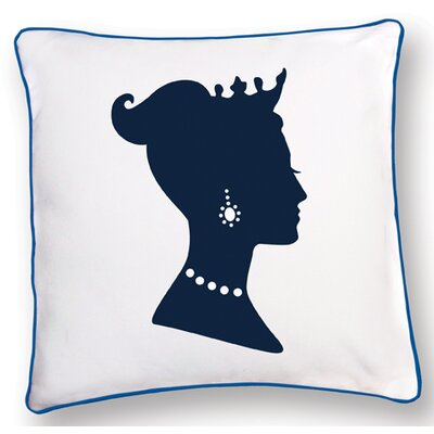 Naked Decor Princess Reversible Pillow in White and Blue