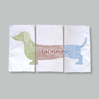 Naked Decor Dachshund Typography Dish Towels (Set of 3)