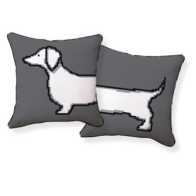 Naked Decor Pixel Dachshund Double Sided Cotton Pillow