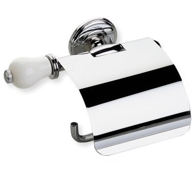 Stilhaus by Nameeks Nemi Wall Mounted Toilet Roll Holder with Cover and End Cap in Chrome/White
